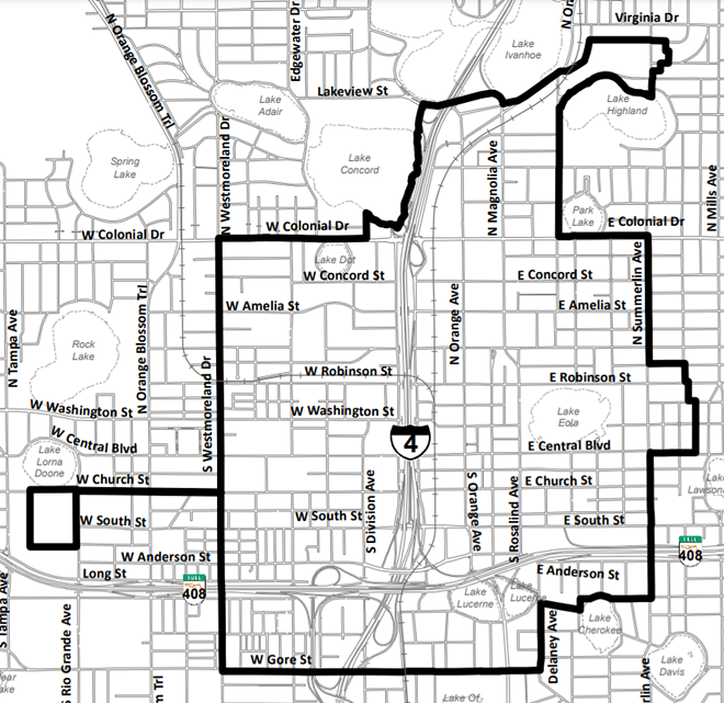 The downtown Orlando Community Redevelopment boundaries - IMAGE VIA CITY OF ORLANDO & COMMUNITY REDEVELOPMENT AGENCY