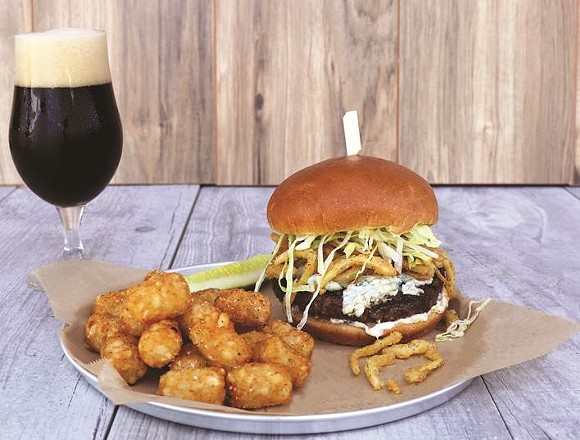 The World of Beer's new Black n' Bleu burger is free to COVID-19 vaccinated patrons on April 7. - PHOTO COURTESY WORLD OF BEER