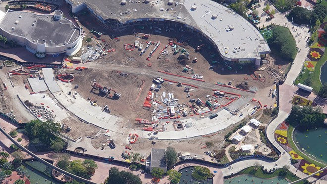 Progress on the World Celebration area at Epcot as of April 2021 - IMAGE VIA BIORECONSTRUCT | TWITTER