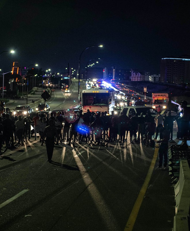 Protesters at a 2020 Black Lives Matters march block the 408. - PHOTO BY NICO TAMAYO