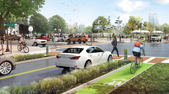 Some proposals for Future Orlando include bicycles with their own green pathways on which to ride, divided from both traffic and pedestrians. - IMAGE VIA CITY OF ORLANDO & COMMUNITY REDEVELOPMENT AGENCY