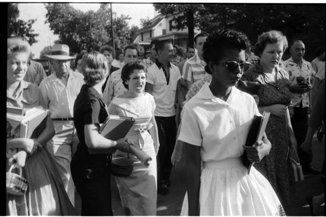 Elizabeth Eckford, 15, tries to enter Little Rock Central High School, Arkansas, in 1957 as she's pursued by a mob. - PHOTO BY WILL COUNTS JR. VIA INDIANA UNIVERSITY ARCHIVES