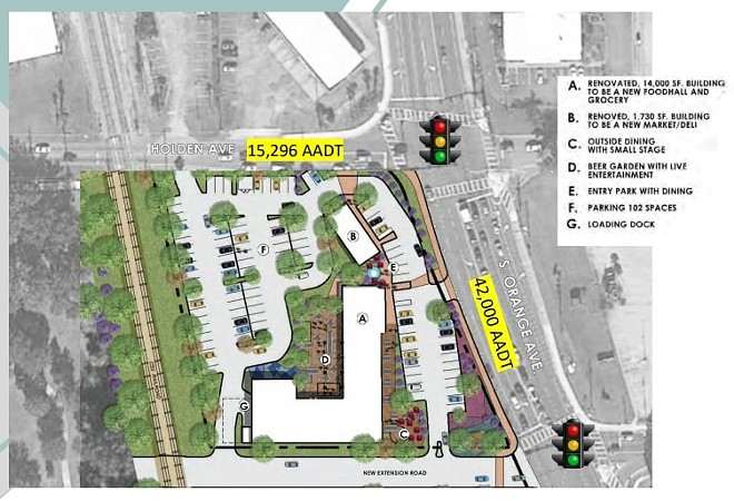 A proposed plan of the food hall space at 4710 S Orange Avenue - COURTESY OF ACRE COMMERCIAL REAL ESTATE