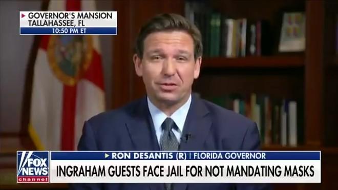 Ron DeSantis appeared on 'The Ingraham  Angle' Wednesday night to announce pardons for all COVID-19 mandate violators. - SCREENSHOT VIA TWITTER/RON DESANTIS