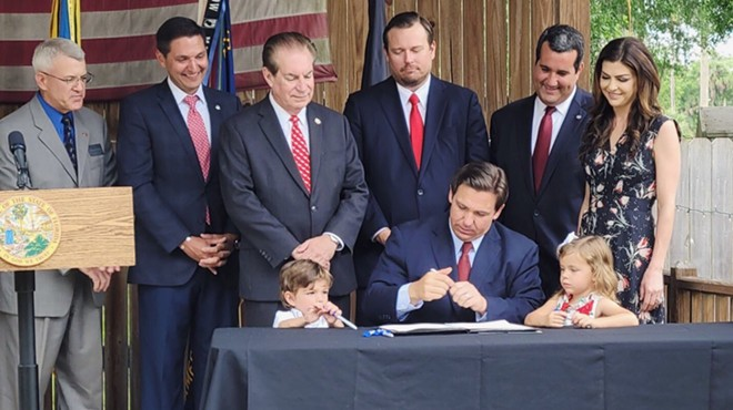 Florida Gov. Ron DeSantis signs a budget that includes some hefty cuts to Central Florida programs. - PHOTO VIA TWITTER/RON DESANTIS