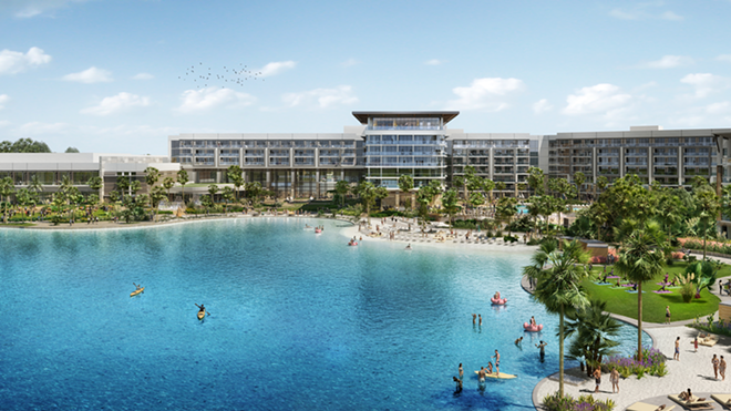 The Conrad hotel overlooking Evermore Bay, a Crystal Lagoon proposed near Disney World - IMAGE VIA EVERMORE RESORT