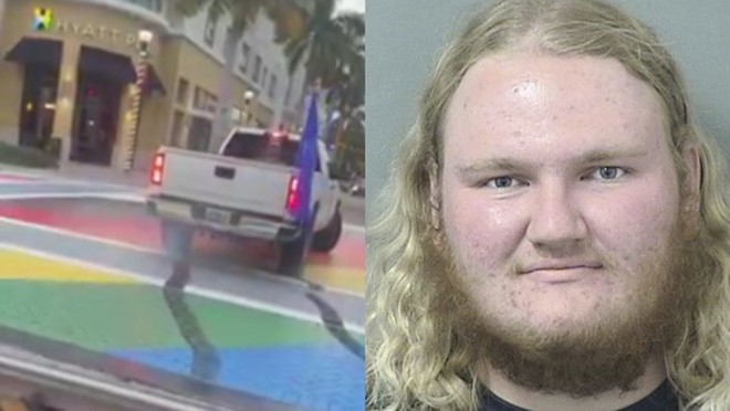 A Donald Trump supporter used his truck to deface a Florida crosswalk painted to celebrate Pride Month. - SCREENSHOT VIA FACEBOOK/JIM KOVALSKY; MUGSHOT VIA PALM BEACH COUNTY SHERIFF'S OFFICE