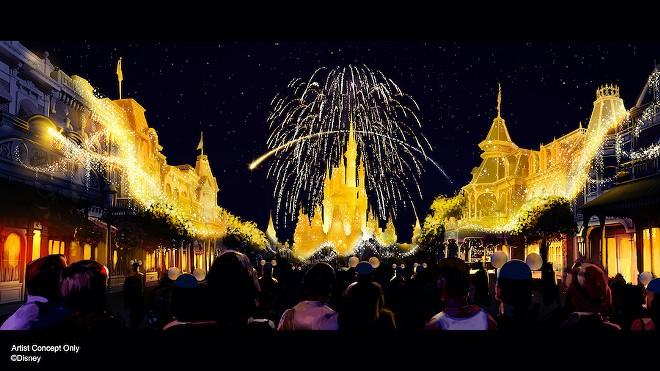 An artist rendering of a new fireworks show to celebrate Walt Disney World's 50th anniversary. - DISNEY