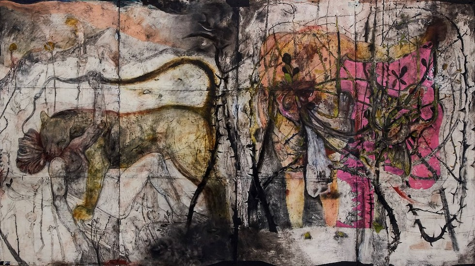 Robert Rivers, 'The Promised Land' (detail) - ROBERT RIVERS, 'THE PROMISED LAND' (2010-PRESENT) MIXED MEDIA DRAWINGS ON WATERCOLOR PAPER, 66 X 30 IN. (EACH) COURTESY OF THE ARTIST. IMAGE © STEPHEN ALLEN PHOTOGRAPHY