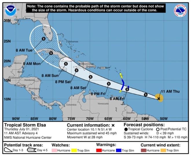 Tropical Storm Elsa's potential path includes Orlando and Tampa Bay. - PHOTO VIA NHC