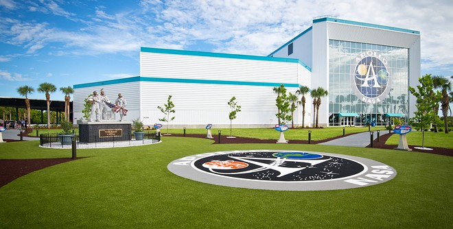 The Moon Tree Garden at the Apollo/Saturn V Center was unveiled in 2019. The Apollo 11 statue can be seen in the center-left. - IMAGE VIA KENNEDY SPACE CENTER VISITOR COMPLEX