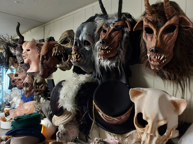 The wardrobe trailer at A Petrified Forest is filled with masks, many purchased last year to help hid the face coverings actors wore. This year the mask and the face covers will return. - IMAGE VIA KEN STOREY