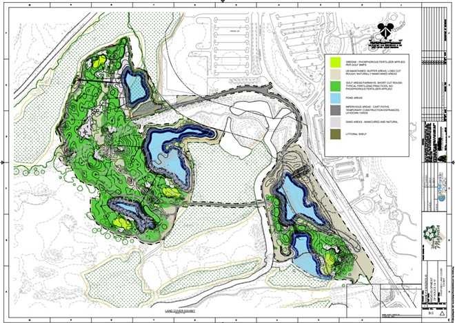The reworked 14-17 holes of the Magnolia course can be seen on the left side of the image with the Right-of-Way for the future World Drive in the middle of the image. The hexagon-style section in the middle is thought to be a new entrance intersection for the Grand Floridian. - IMAGE VIA THE SOUTH FLORIDA WATER MANAGEMENT DISTRICT | PERMIT#: 48-105440-P | KPM FRANKLIN ENGINEERING