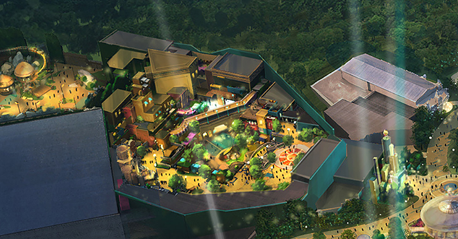 Early concept art shared by NBCUniversal showing the Super Nintendo World area of Epic Universe. Despite many details missing, both the Mushroom Kingdom and the Donkey Kong areas can be seen. The Yoshi ride path can also be seen in the middle of the picture. - IMAGE VIA NBCUNIVERSAL