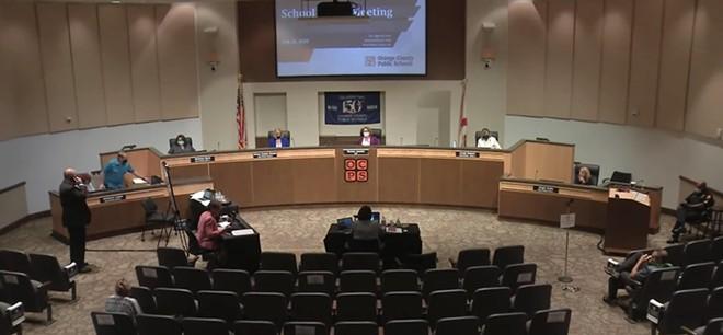 An Orange County School Board meeting. - SCREENSHOT VIA ORANGE COUNTY PUBLIC SCHOOLS/YOUTUBE