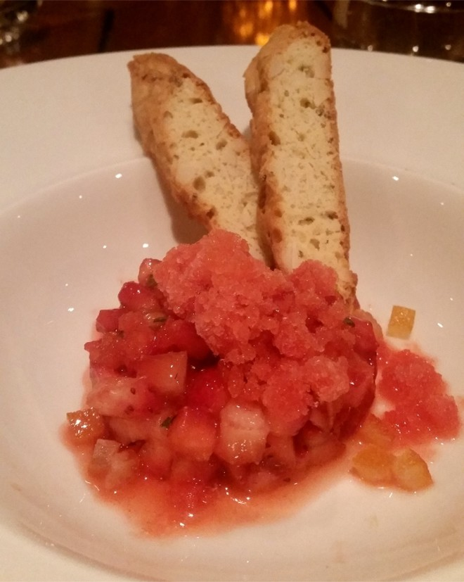 Strawberry citrus granita | candied orange | warm biscotti (paired with Perlina Moscato)