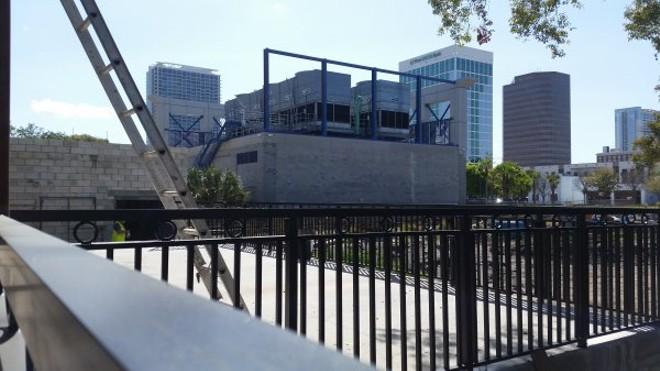 Back patio overlooking beer garden and outdoor concert venue