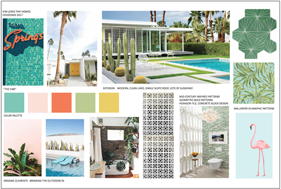 """Moodboard for """"Palm Springs Retro Bungalow"""" by Kim Lewis, of ABC's """"Extreme Makeover: Home Edition"""" - IMAGE VIA COVERINGS"""