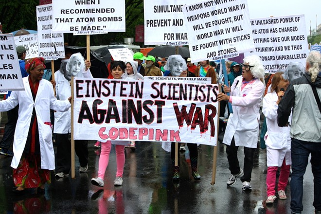 "Medea Benjamin (far right) founded Code Pink's ""Einstein Scientists Against War"" - PHOTO BY BAYNARD WOODS"