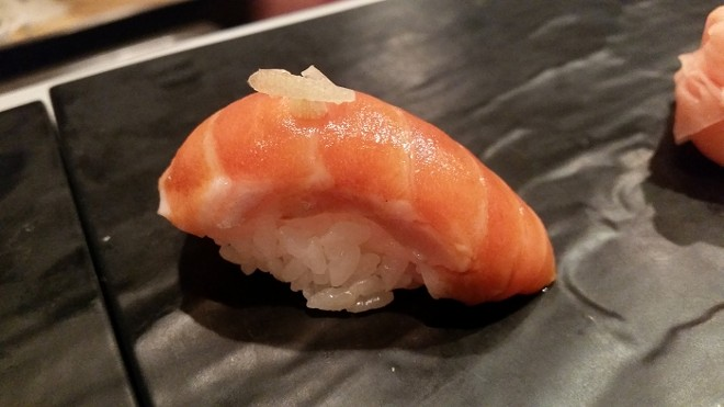 6. Nigiri of pink salmon, miyoga (Japanese ginger)