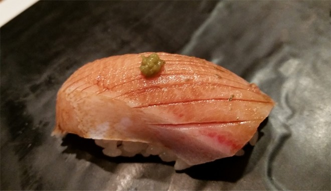 8. Nigiri of hamachi belly, yuzu