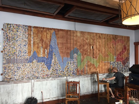 Handmade Pulse tribute inside Muddy Waters, halfway done - PHOTO VIA BEACON HILL GROUP