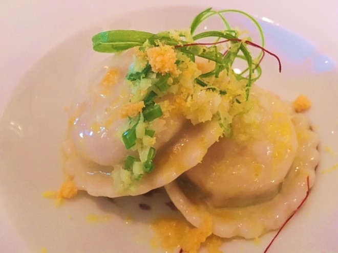 Salted egg yolk ravioli with scallion and fermented black bean