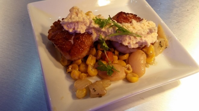 Seared scallops with roasted corn, butterbean succotash, and chili-chipotle butter sauce (Coastal Eats)