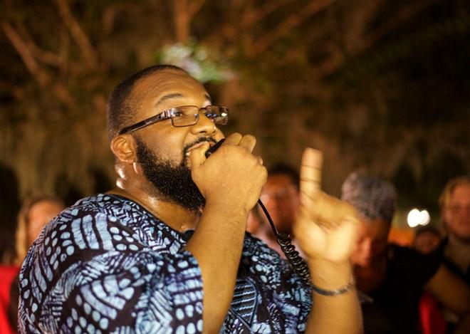 T.J. Legacy-Cole speaks to the Orlando vigil - PHOTO BY MONIVETTE CORDEIRO
