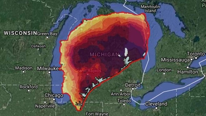 What Harvey would look like over Michigan - PHOTO VIA MYSA.COM
