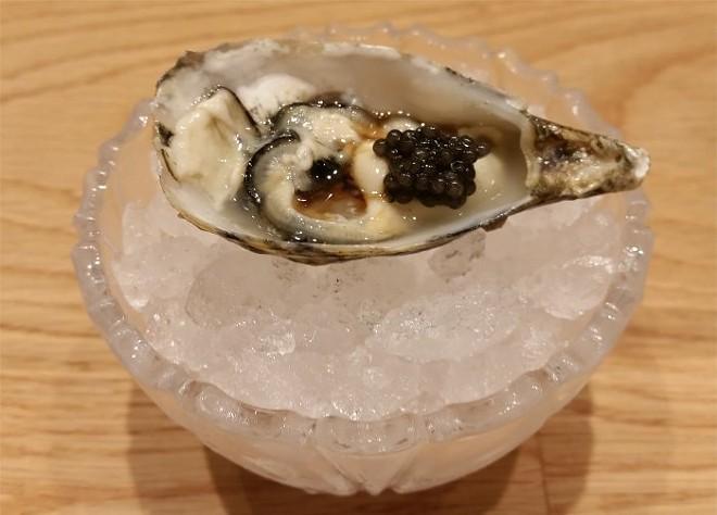 Shigoku oyster, paddlefish caviar
