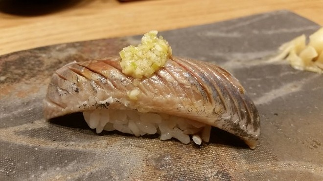 Nigiri of iwashi (Japanese sardine)