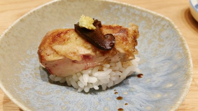 Nigiri of foie gras with donko shiitake mushroom