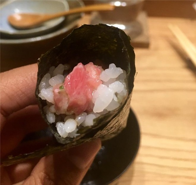 Toro and hackleback caviar hand roll with scallion