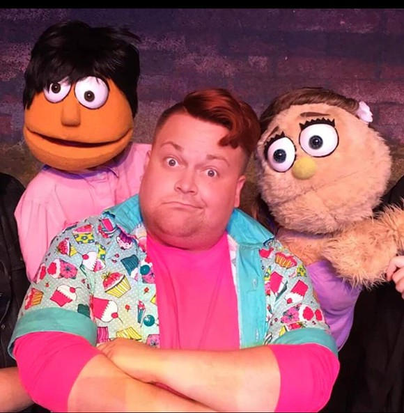 """Joshua """"Ginger Minj"""" Eads drops his drag to play """"Brian"""" in 'Avenue Q' with Derek Critzer as """"Princeton"""" and Savannah Pedersen as """"Kate Monster."""" - PHOTO PROVIDED BY CLANDESTINE ARTS"""