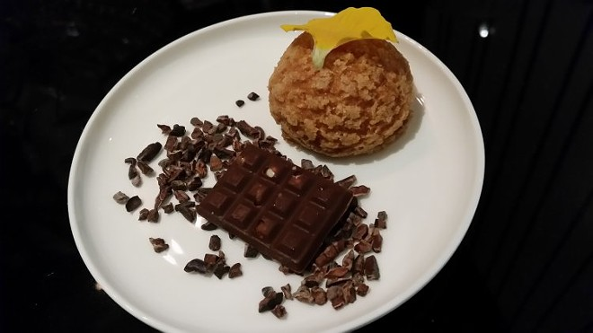 Passion fruit cream puff, chocolate bar, cacao - FAIYAZ KARA