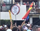 Orlando Pride parade marcher wins the day with wicked Hagrid's Motorbike Adventure sign
