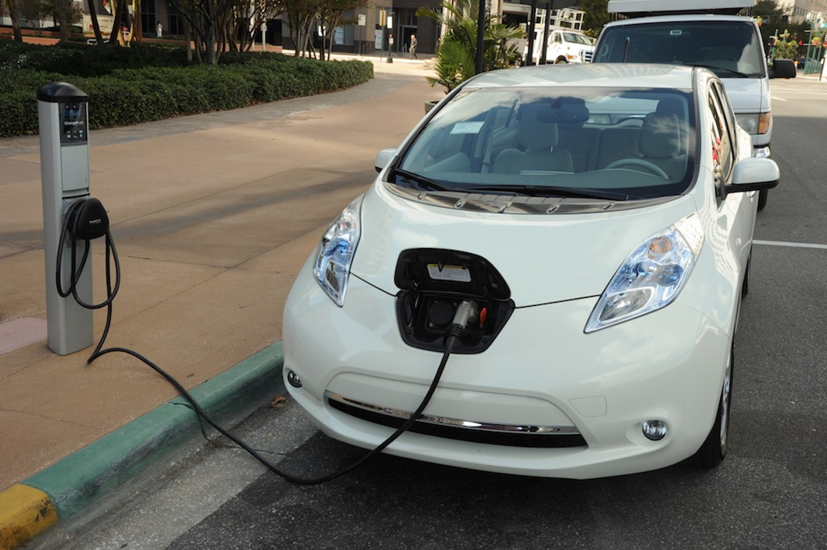 An electric vehicle charging station in front of  Orlando City Hall