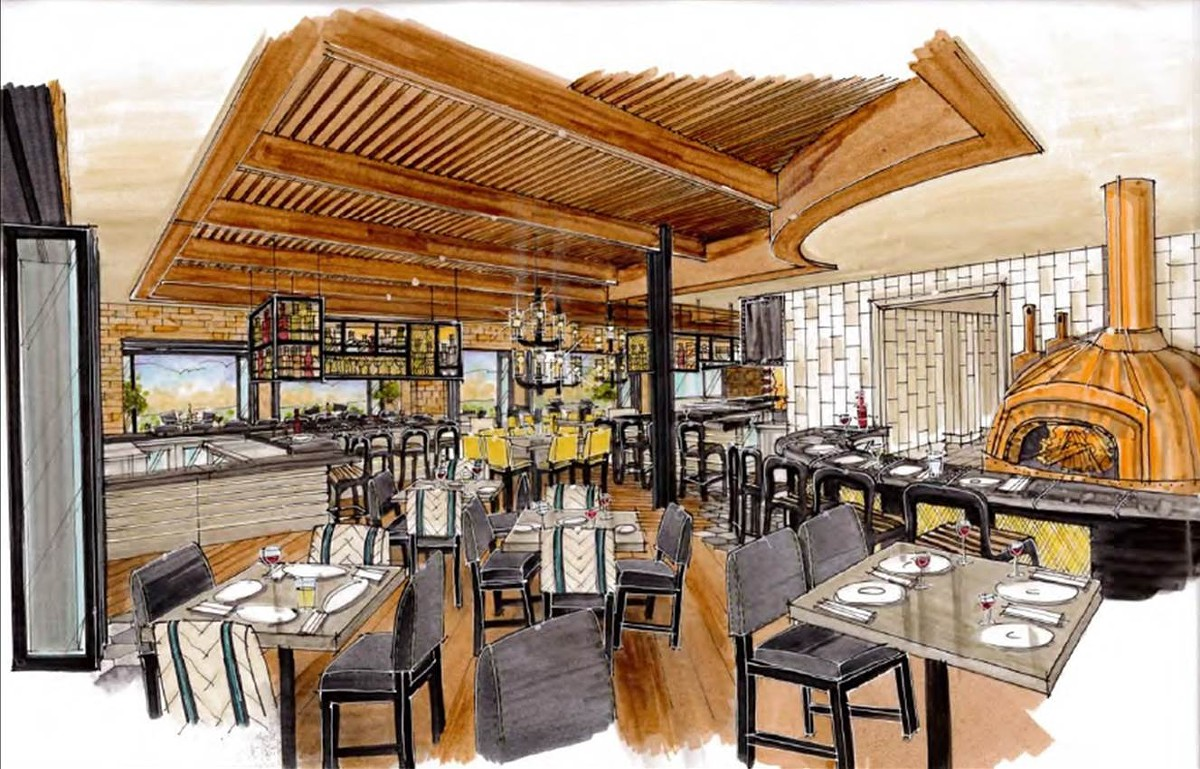 Interior rendering of dining area and wood fire grill at Slate