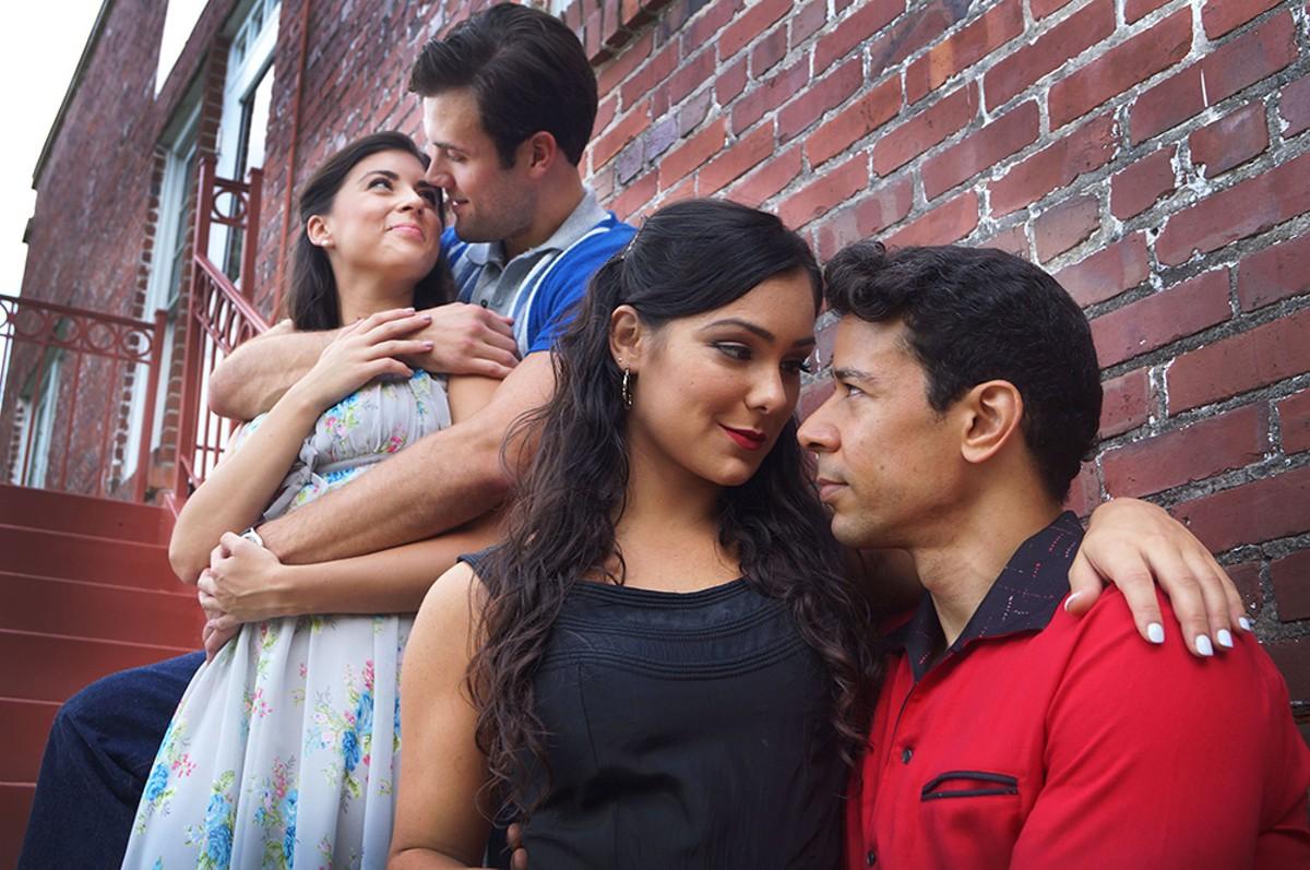 Carly Evans as Maria, Marc Koeck as Tony, Karli Dinardo as Anita,and Marco Antonio Santiago as Bernardo