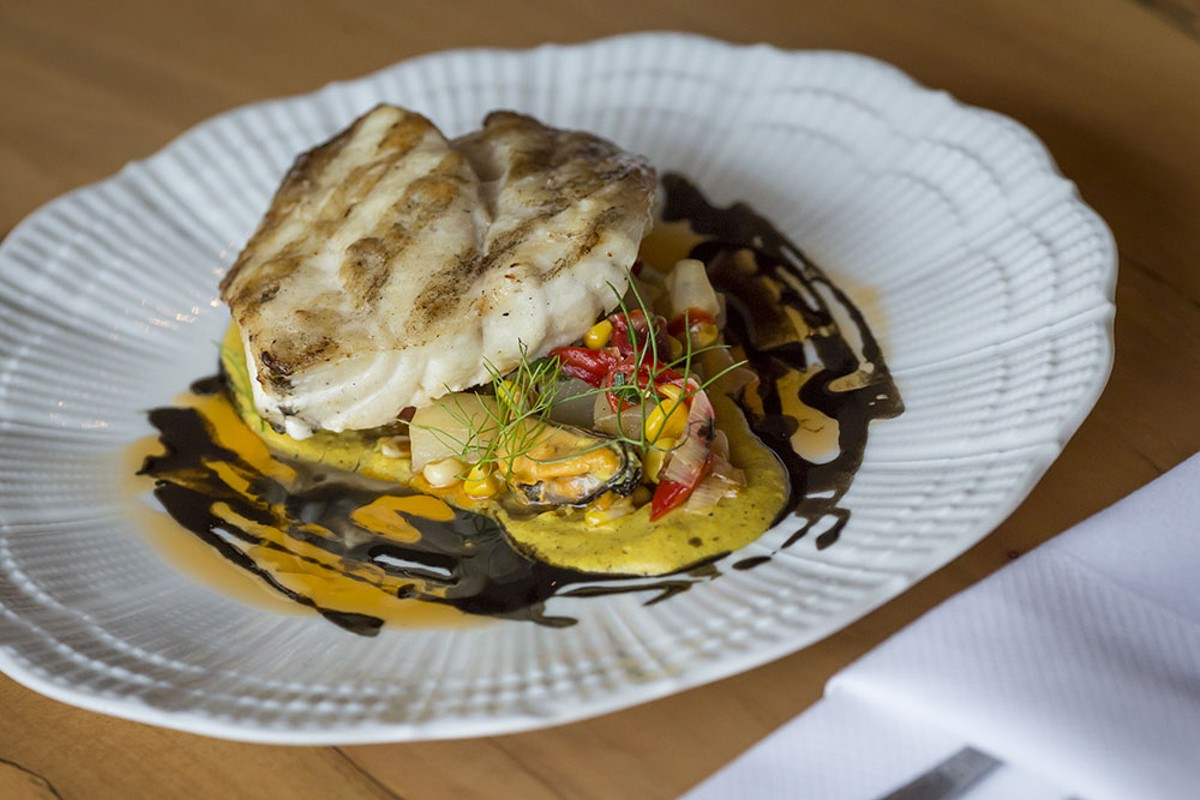 Ponce Inlet Barrelfish over a Charred Zellwood Corn Purée.
