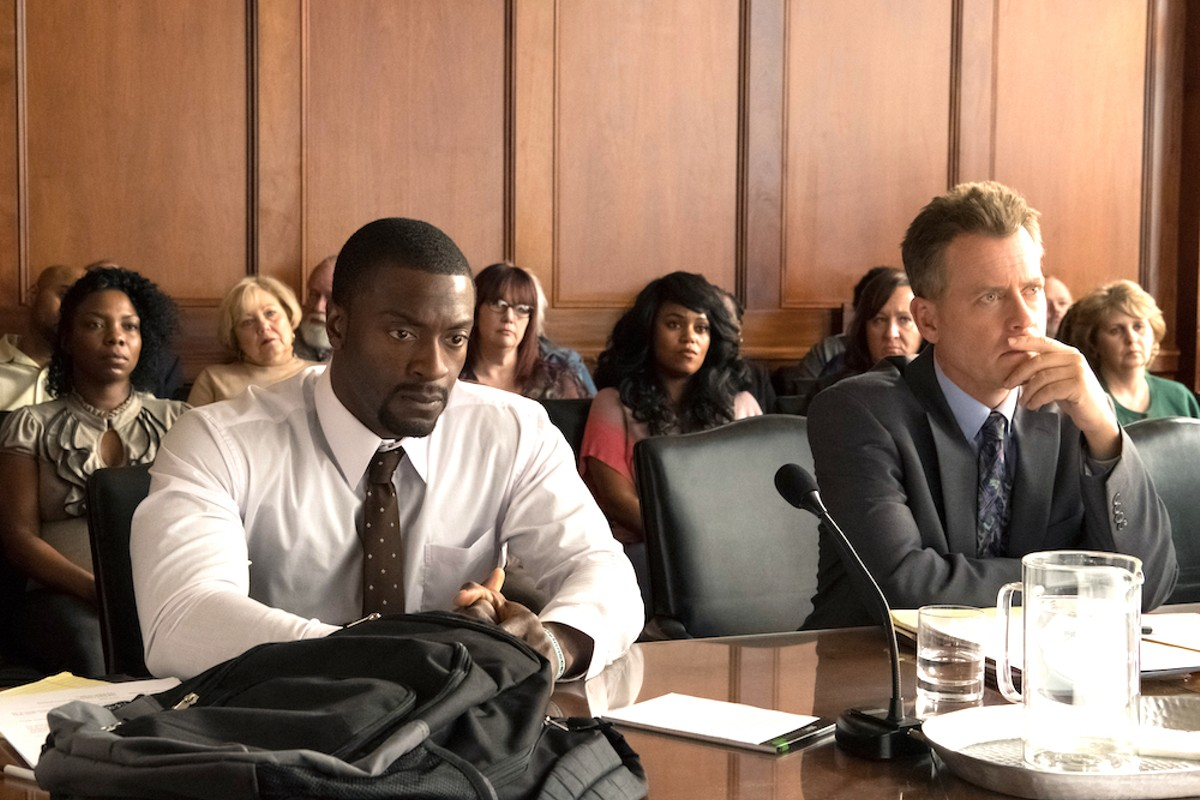 Aldis Hodge and Greg Kinnear in 'Brian Banks'