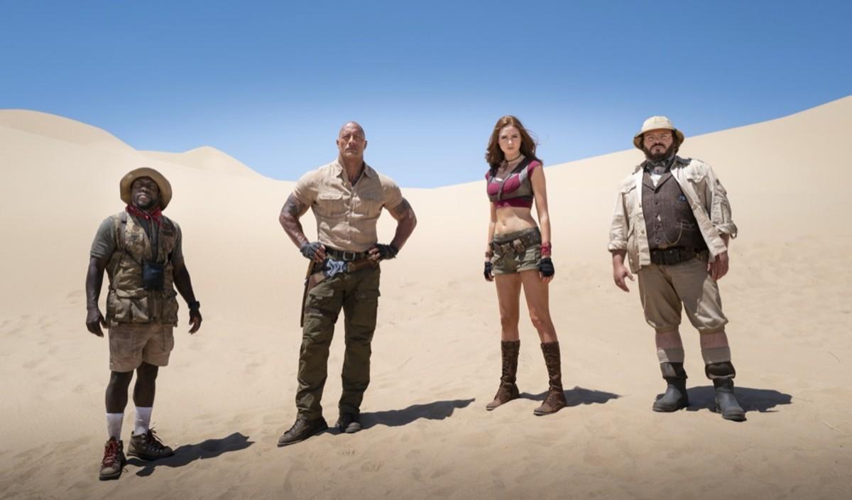 Kevin Hart, Dwayne Johnson, Karen Gillan and Jack Black in 'Jumanji: The Next Level'