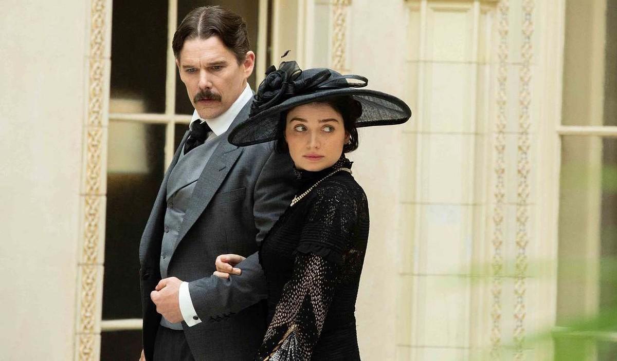 Ethan Hawke as Nikola Tesla and Eve Hewson as Anne Morgan