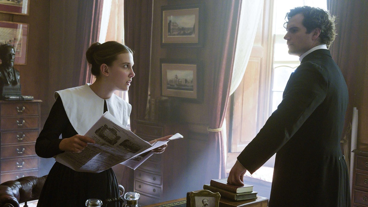 Millie Bobby Brown and Henry Cavill in Enola Holmes
