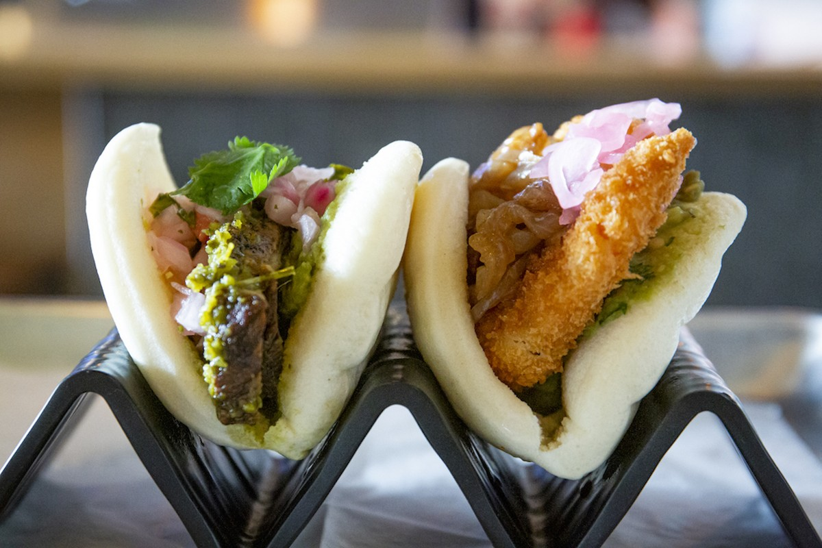 Crispy panko shrimp bao and braised short rib bao