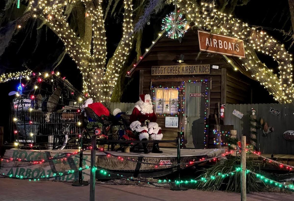 Santa and his sleigh at Jolly Creek's festival village