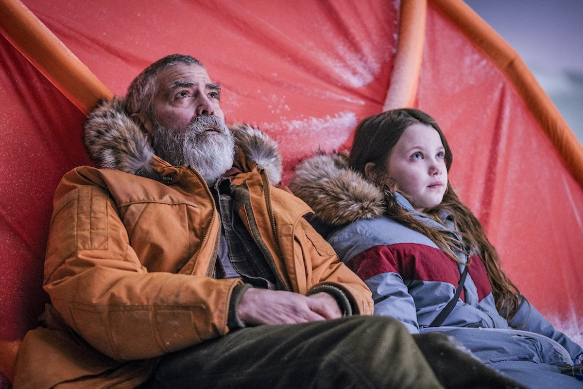 George Clooney and Caoilinn Springall in 'The Midnight Sky,' premiering Wednesday on Netflix