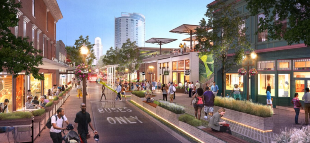 Artist's concept of a reimagined, pedestrian-friendly Magnolia Avenue in downtown Orlando. It features many of the characteristics used in the Thornton Park parklets.