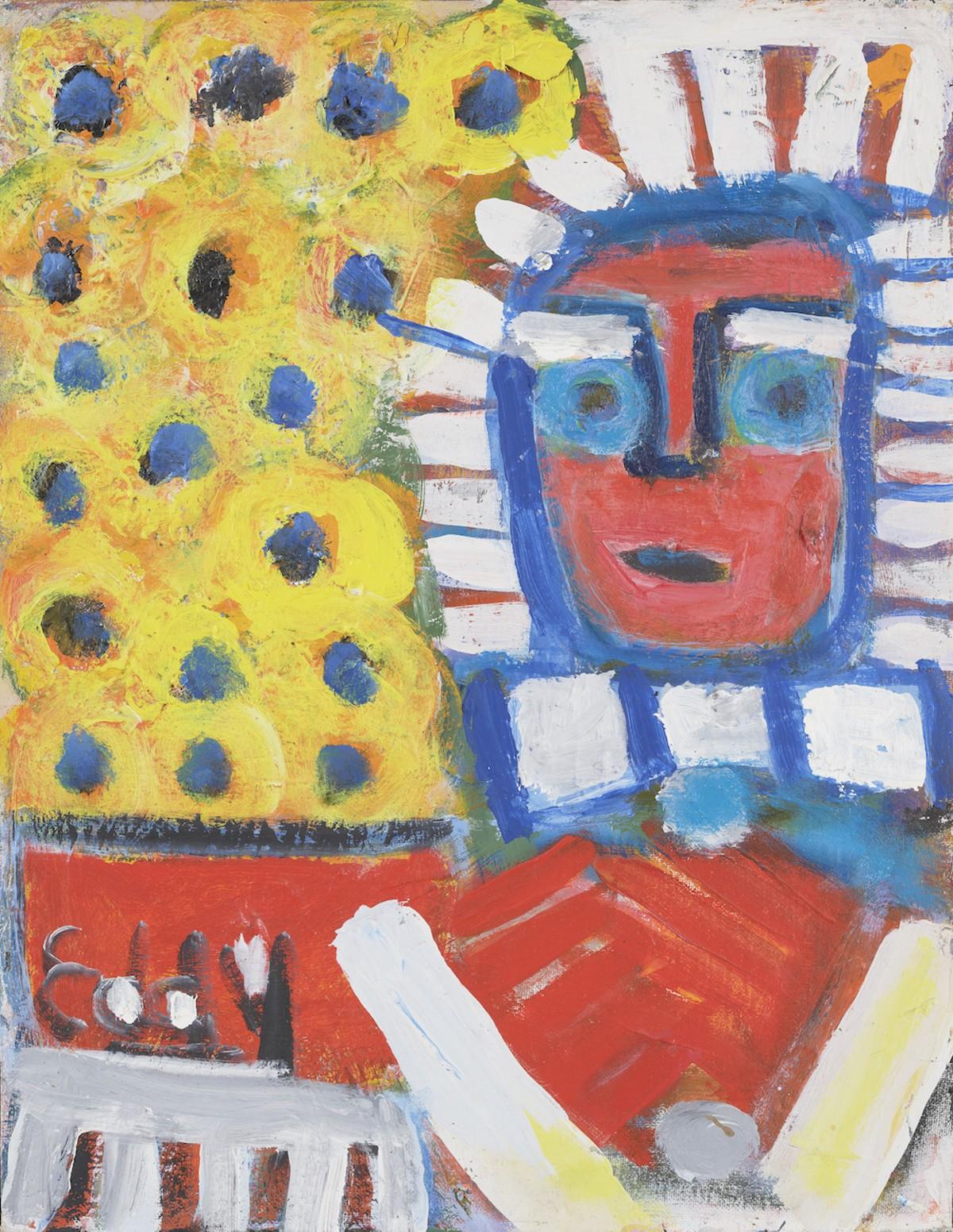 Mr. Eddy Mumma (American, 1908—1986), 'Untitled (Statue of Liberty after Van Gogh's Sunflowers),' n.d. Acrylic on canvas board. Collection of the Mennello Museum of American Art, Gift of Josh Feldstein, 2015-001-002. © Josh Feldstein